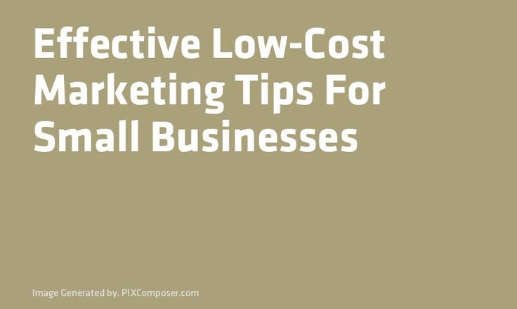 a formula for low cost marketing for small businesses